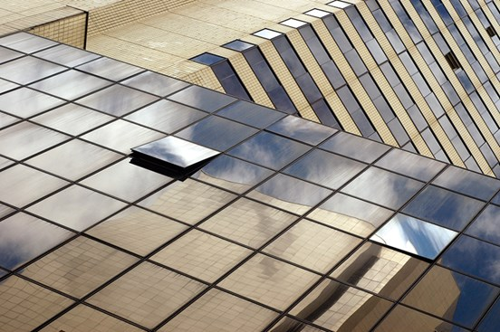 Abstract image of mirrored building