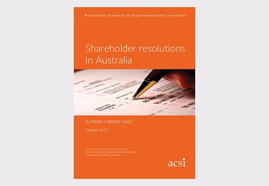 Shareholder resolutions in Australia document cover