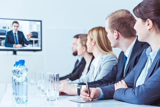 Business meeting with video conference