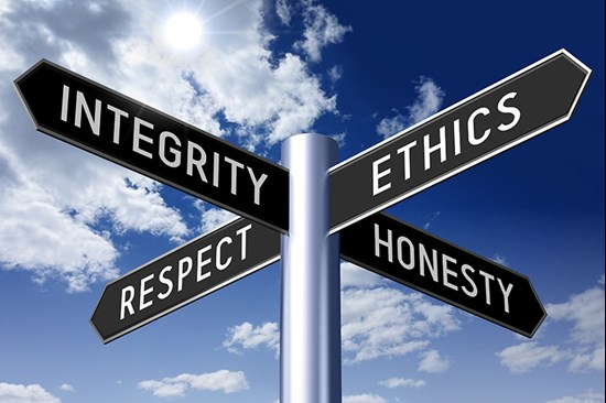 Signpost showing integrity, ethics, honesty and respect