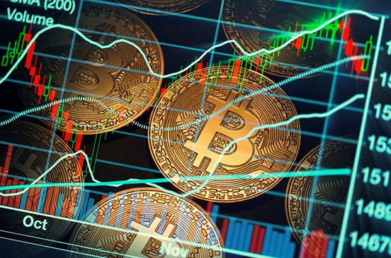 Bitcoin overlaid with financial market charts