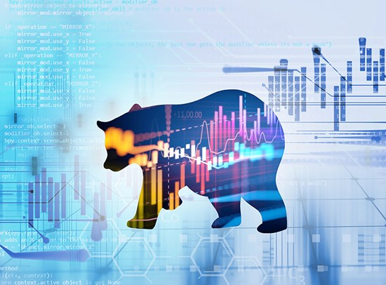 Silhouette of bear against financial chart background
