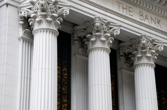 Close up of columns on a building