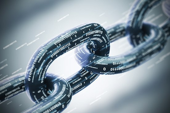 Closeup of chain links with data code overlaid on chain