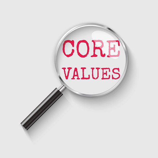 Magnifying glass over words 'core values'