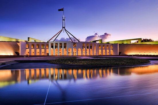 Australian Parliament House at sunset