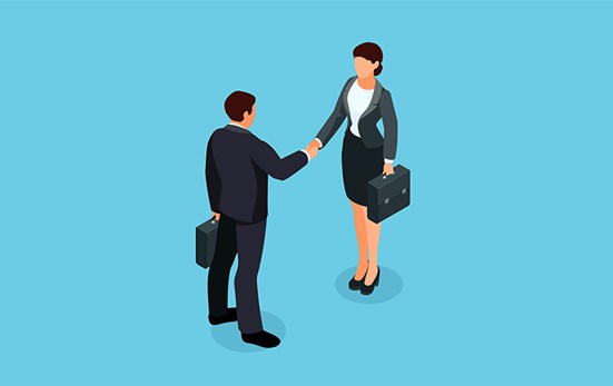 Illustration of business people shaking hands