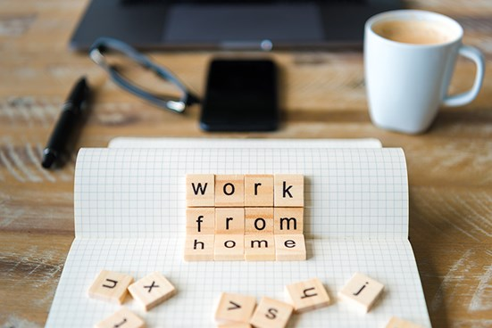 Letter tiles spelling out 'work from home'