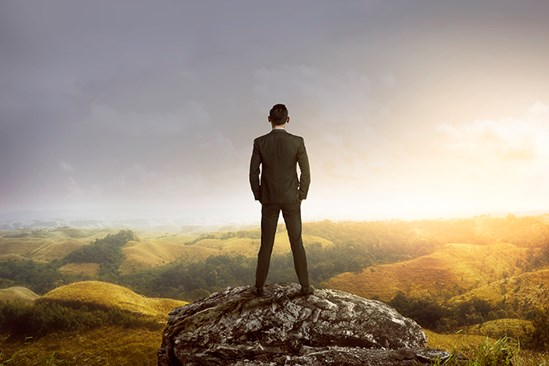 Businessman looking out at landscape view